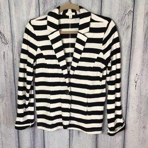 Caslon Blazer Jacket Medium Black white striped